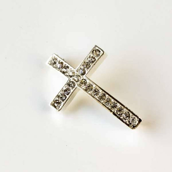 Base Metal Silver 23x34mm Convex Pave Cross - 1 per bag