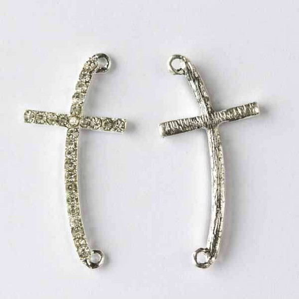 Pave 17x36mm Silver Curved Cross with Crystals