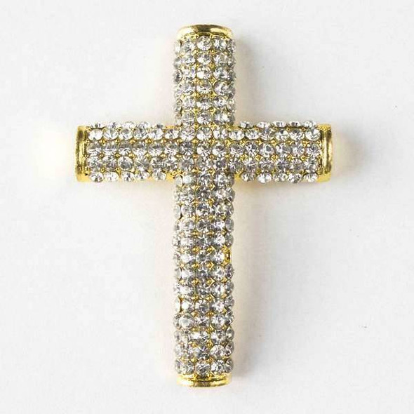 Pave 34x49mm Gold Cross with Crystals and 3 Holes