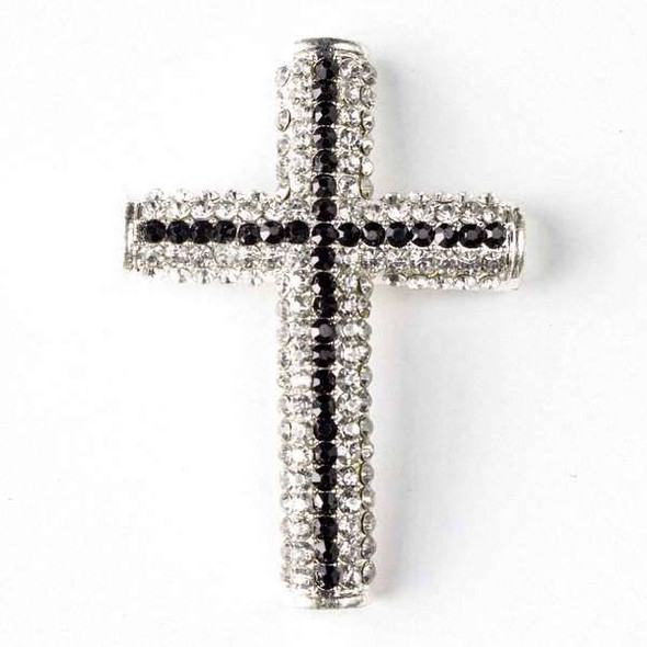 Pave 34x49mm Silver Cross with Crystals, Jet Stripe, and 3 Holes