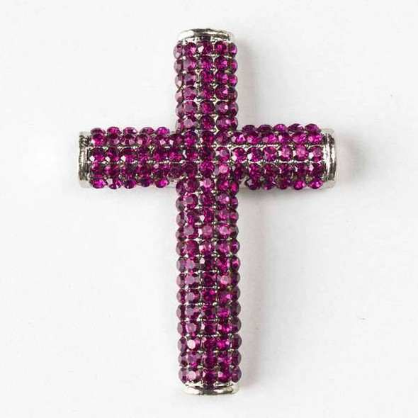 Pave 34x49mm Vintage Silver Cross with Fuchsia Crystals and 3 Holes