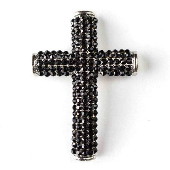 Pave 34x49mm Vintage Silver Cross with Jet Crystals and 3 Holes