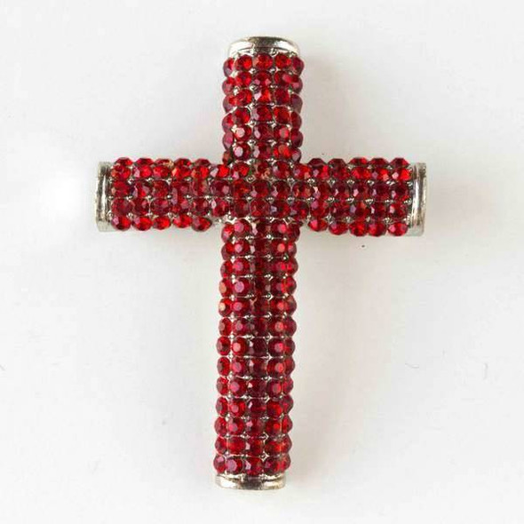 Pave 34x49mm Vintage Silver Cross with Light Siam Red Crystals and 3 Holes