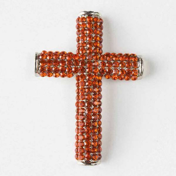 Pave 34x49mm Vintage Silver Cross with Tangerine Crystals and 3 Holes