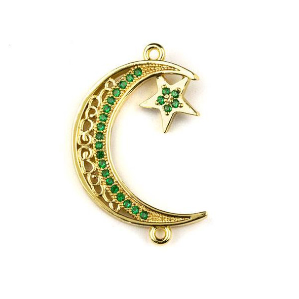 Gold Plated Brass Pave 19x29mm Crescent Moon and Star Link with Green Cubic Zirconias - 1 per bag