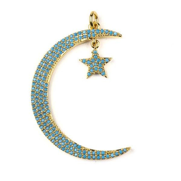 Gold Plated Brass Pave 27x39mm Thin Crescent Moon and Star Dangle Pendant with Turquoise Blue Cubic Zirconias - 1 per bag