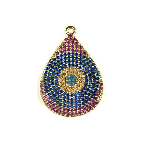 Gold Plated Brass Pave 22x32mm Teardrop Drop with Blue, Pink, and Champagne Cubic Zirconias - 1 per bag