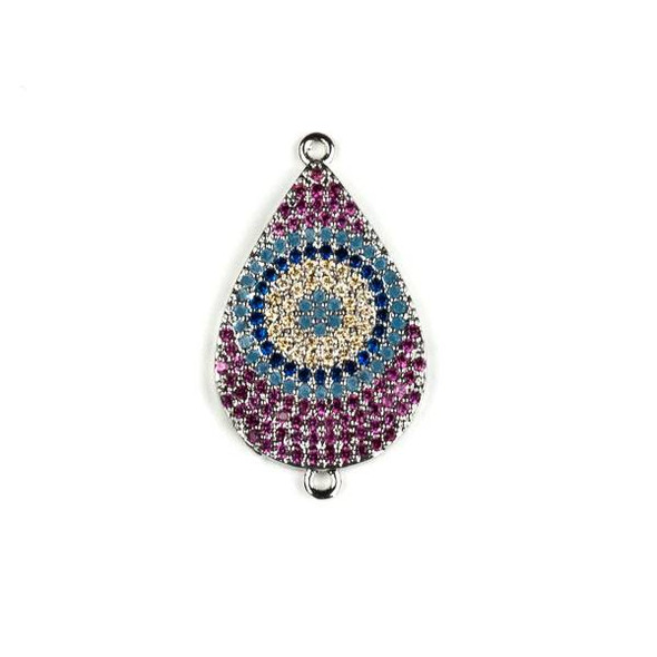 Silver Plated Brass Pave 16x29mm Teardrop Link with Blue, Pink, and Champagne Cubic Zirconias - 1 per bag