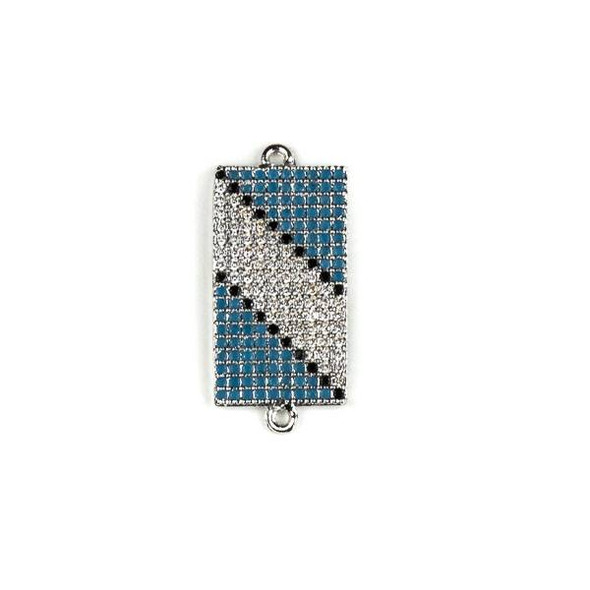 Silver Plated Brass Pave 11x25mm Rectangle Link with Diagonal Stripe Patterned Blue, Black, and Clear Cubic Zirconias - 1 per bag