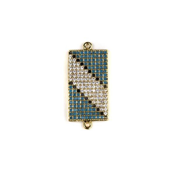 Gold Plated Brass Pave 11x25mm Rectangle Link with Diagonal Stripe Patterned Blue, Black, and Clear Cubic Zirconias - 1 per bag