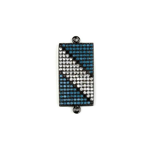 Gun Metal Plated Brass Pave 11x25mm Rectangle Link with Diagonal Stripe Patterned Blue, Black, and Clear Cubic Zirconias - 1 per bag