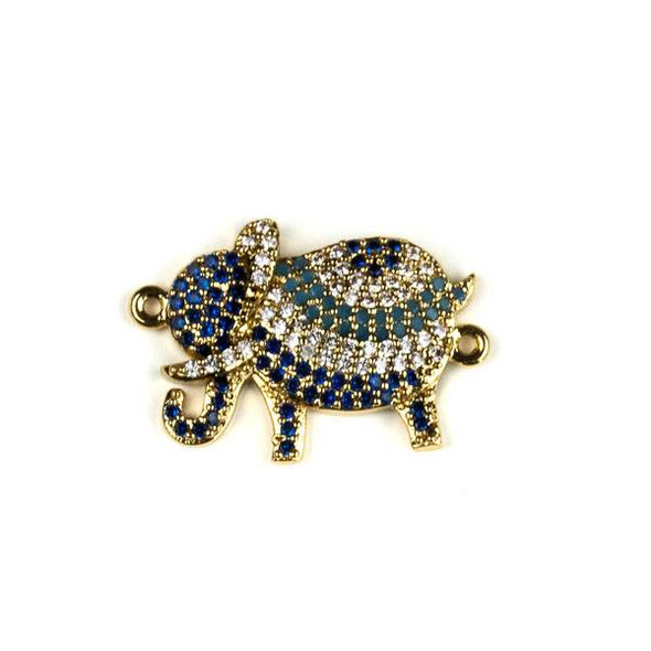 Gold Plated Brass Pave 15x22mm Elephant Link with Blue, Turquoise, and Clear Cubic Zirconias - 1 per bag