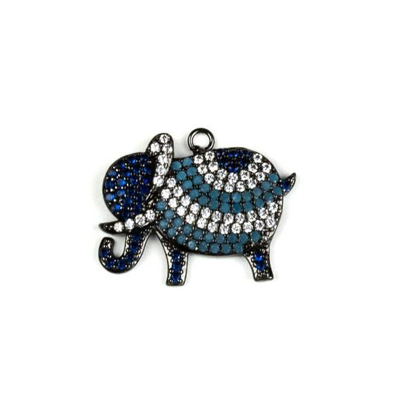 Gun Metal Plated Brass Pave 15x22mm Elephant Drop with Blue, Turquoise, and Clear Cubic Zirconias - 1 per bag