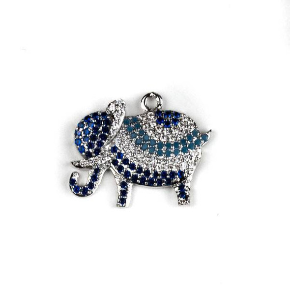 Silver Plated Brass Pave 15x22mm Elephant Drop with Blue, Turquoise, and Clear Cubic Zirconias - 1 per bag