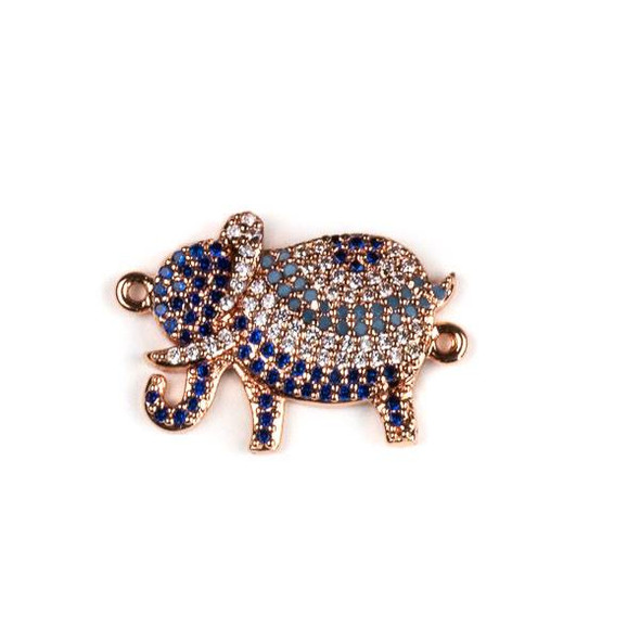 Rose Gold Plated Brass Pave 15x22mm Elephant Link with Blue, Turquoise, and Clear Cubic Zirconias - 1 per bag
