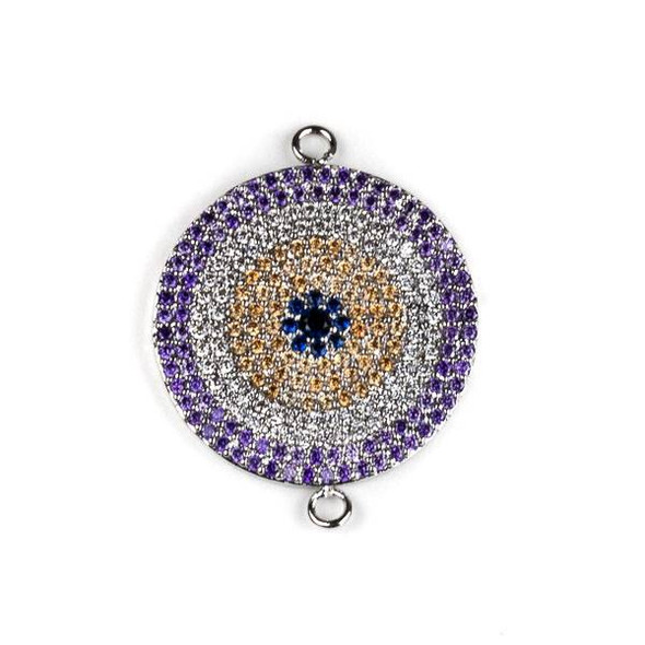 Silver Plated Brass Pave 20x25mm Coin Link with Lavender, Clear, Champagne, and Blue Cubic Zirconias - 1 per bag