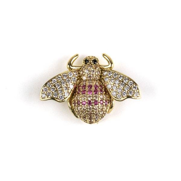 Gold Plated Brass Pave 18x25mm Flying Bug with Pink and Clear Cubic Zirconias - 1 per bag