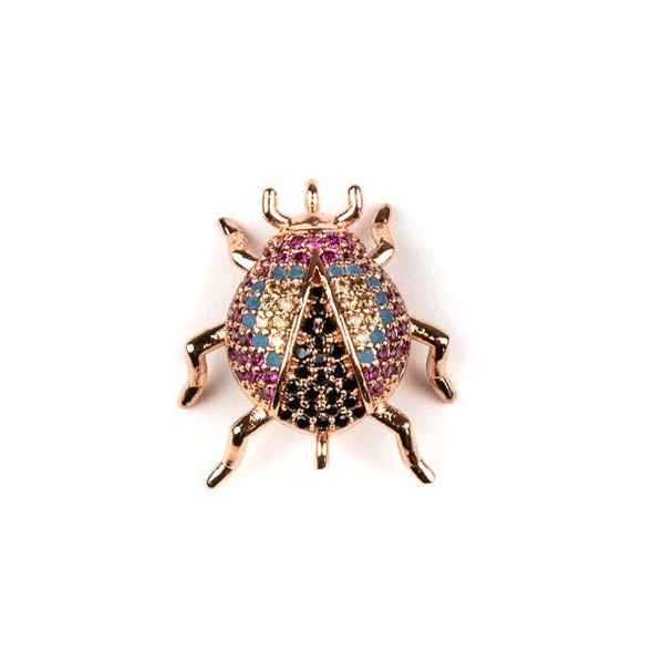 Rose Gold Plated Brass Pave 18x20mm Beetle Bug Link with Blue, Pink, Jet, and Champagne Cubic Zirconias - 1 per bag