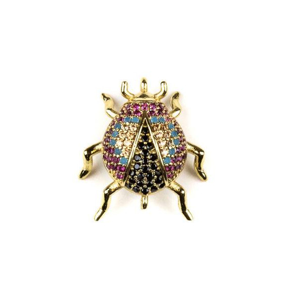 Gold Plated Brass Pave 18x20mm Beetle Bug Link with Blue, Pink, Jet, and Champagne Cubic Zirconias - 1 per bag