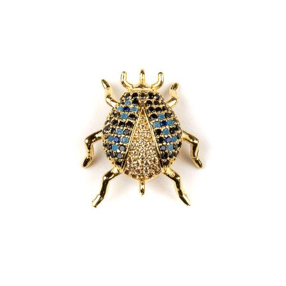 Gold Plated Brass Pave 18x20mm Beetle Bug Link with Blue, Jet, and Champagne Cubic Zirconias - 1 per bag