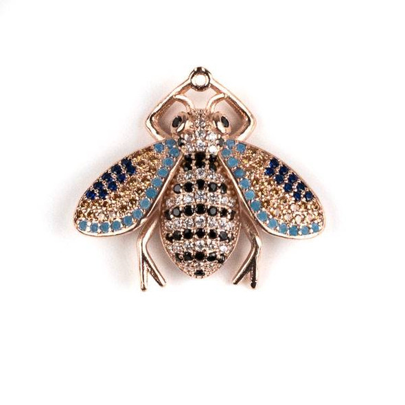 Rose Gold Plated Brass Pave 25x28mm Flying Bug with Jet, Blue, and Clear Cubic Zirconias - 1 per bag