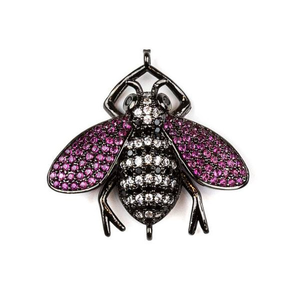 Gun Metal Plated Brass Pave 27x29mm Flying Bug Link with Jet, Pink, and Clear Cubic Zirconias - 1 per bag