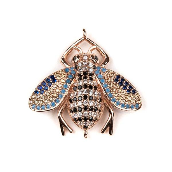 Rose Gold Plated Brass Pave 27x28mm Flying Bug Link with Jet, Blue, and Clear Cubic Zirconias - 1 per bag