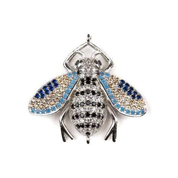 Silver Plated Brass Pave 27x28mm Flying Bug Link with Jet, Blue, and Clear Cubic Zirconias - 1 per bag