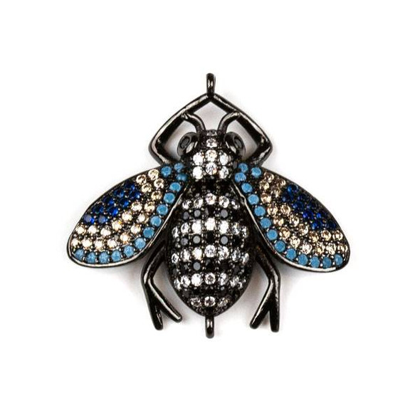 Gun Metal Plated Brass Pave 27x28mm Flying Bug Link with Jet, Blue, Champagne, and Clear Cubic Zirconias - 1 per bag