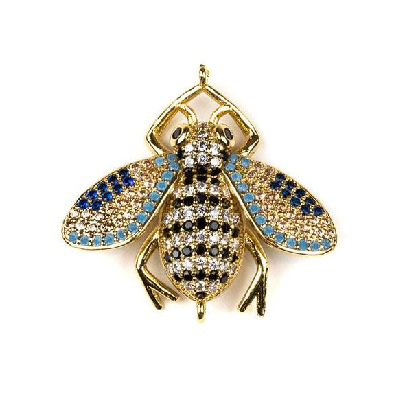 Gold Plated Brass Pave 27x28mm Flying Bug Link with Jet, Blue, Champagne, and Clear Cubic Zirconias - 1 per bag