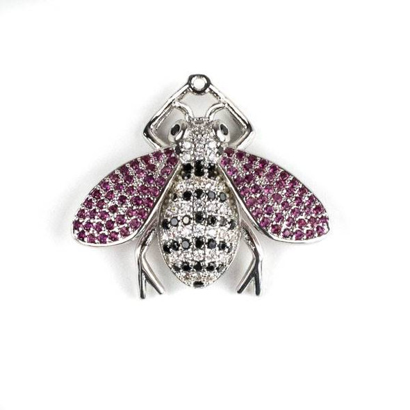Silver Plated Brass Pave 25x28mm Flying Bug with Jet, Pink, and Clear Cubic Zirconias - 1 per bag