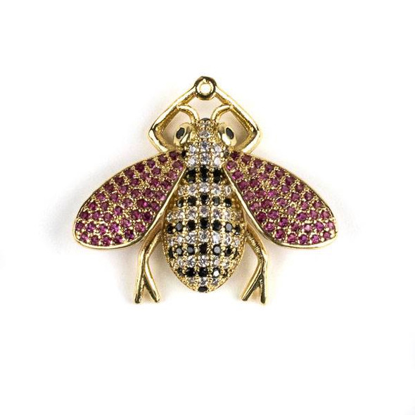 Gold Plated Brass Pave 25x28mm Flying Bug with Jet, Pink, and Clear Cubic Zirconias - 1 per bag