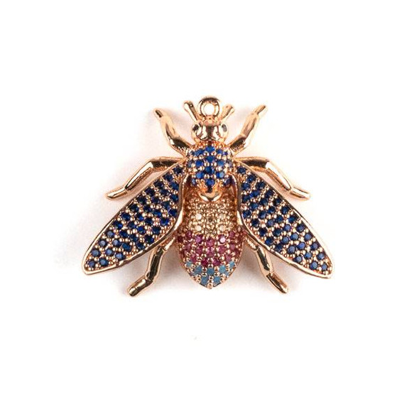 Rose Gold Plated Brass Pave 21x27mm Flying Bug with Blue, Pink, and Champagne Cubic Zirconias - 1 per bag