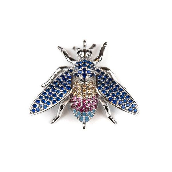 Silver Plated Brass Pave 23x27mm Flying Bug Link with Blue, Pink, and Champagne Cubic Zirconias - 1 per bag