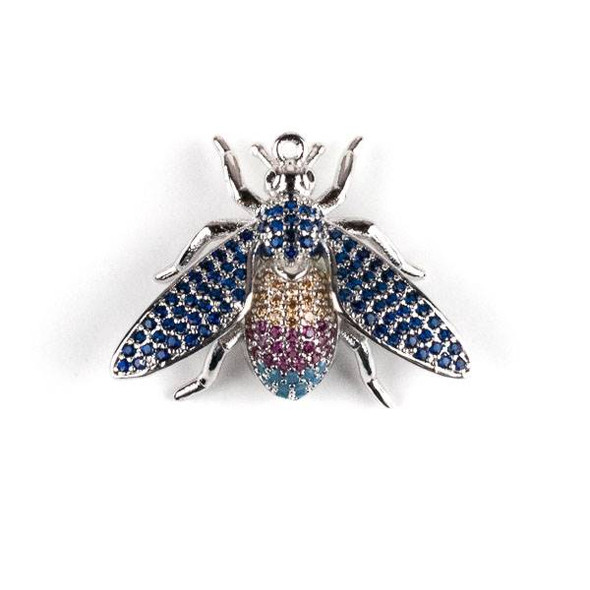 Silver Plated Brass Pave 21x27mm Flying Bug with Blue, Pink, and Champagne Cubic Zirconias - 1 per bag