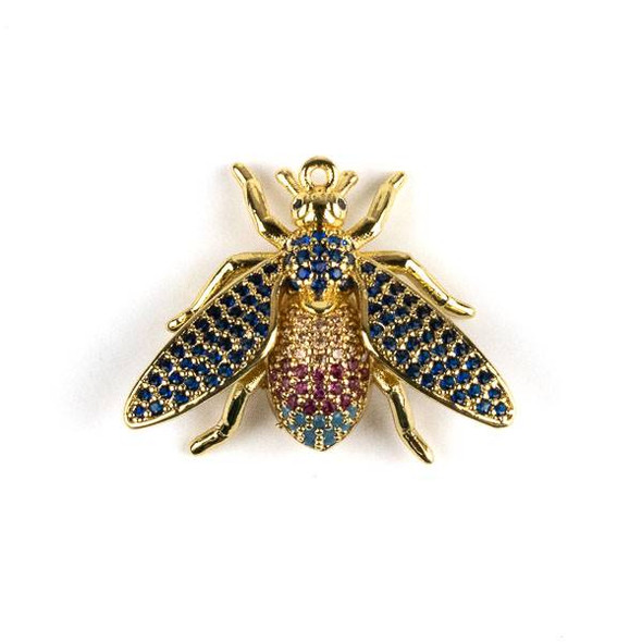 Gold Plated Brass Pave 21x27mm Flying Bug with Blue, Pink, and Champagne Cubic Zirconias - 1 per bag