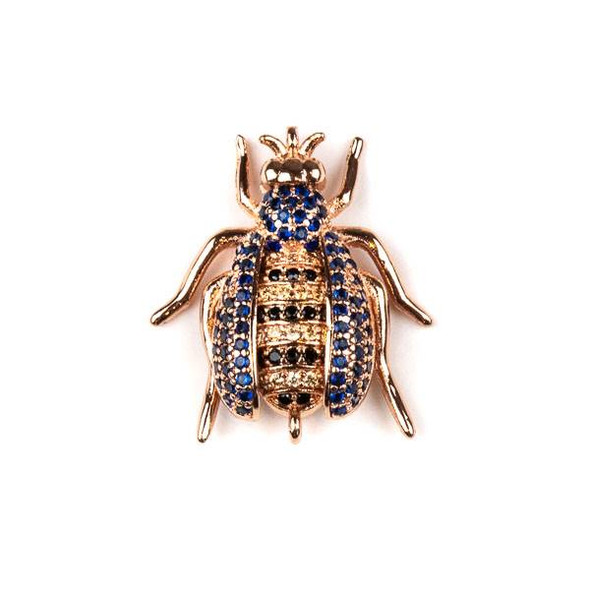 Rose Gold Plated Brass Pave 20x24mm Flying Bug Link with Blue, Jet, and Champagne Cubic Zirconias - 1 per bag