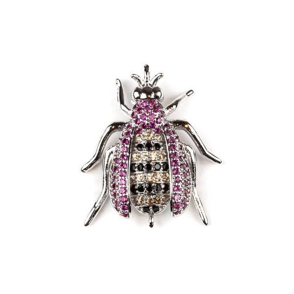 Silver Plated Brass Pave 20x24mm Flying Bug Link with Pink, Jet, and Champagne Cubic Zirconias - 1 per bag