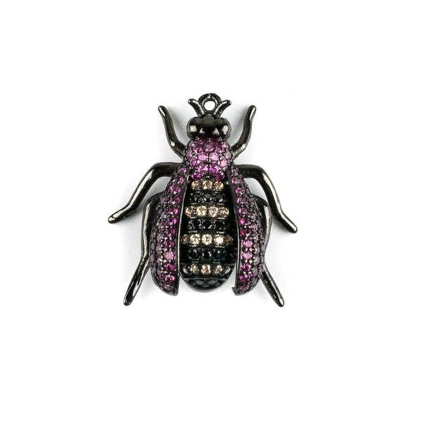 Gun Metal Plated Brass Pave 20x22mm Flying Bug with Pink, Jet, and Champagne Cubic Zirconias - 1 per bag