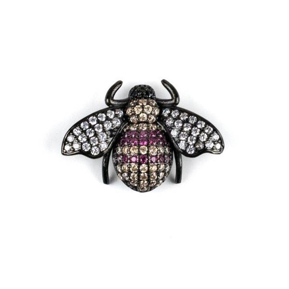 Gun Metal Plated Brass Pave 18x25mm Flying Bug with Pink, Champagne, and Clear Cubic Zirconias - 1 per bag
