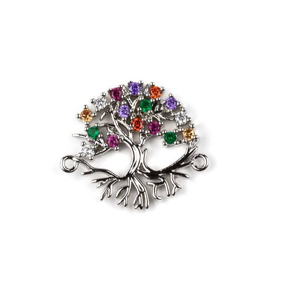 Silver Plated Brass Pave 20x24mm Tree Link with Multicolor Cubic Zirconias - 1 per bag