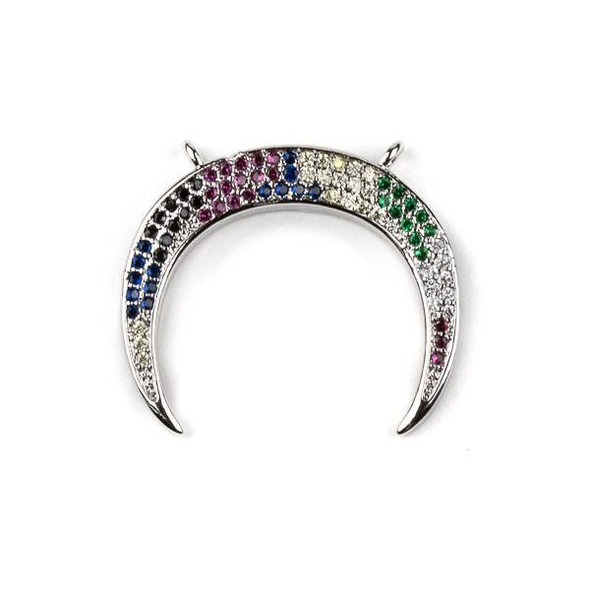 Silver Plated Brass Pave 23x26mm Half Moon Drop Pendant with 2 Loops and Multicolor Cubic Zirconias - 1 per bag