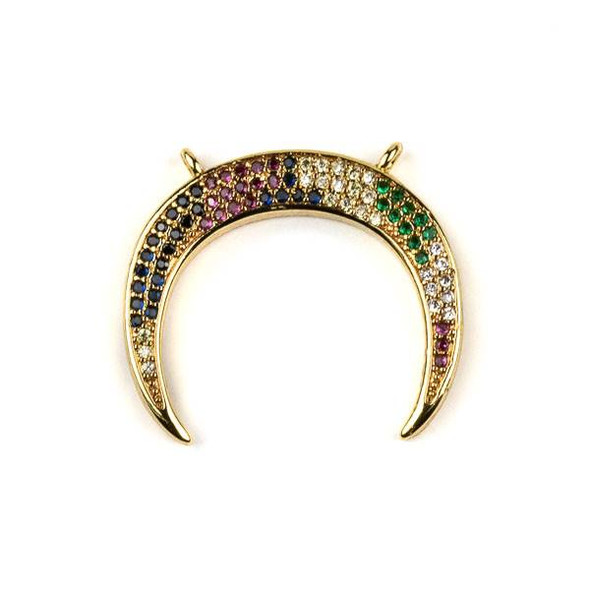 Gold Plated Brass Pave 23x26mm Half Moon Drop Pendant with 2 Loops and Multicolor Cubic Zirconias - 1 per bag