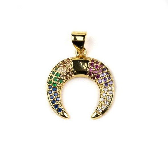Gold Plated Brass Pave 18x20mm Half Moon Drop Pendant with Multicolor Cubic Zirconias - 1 per bag