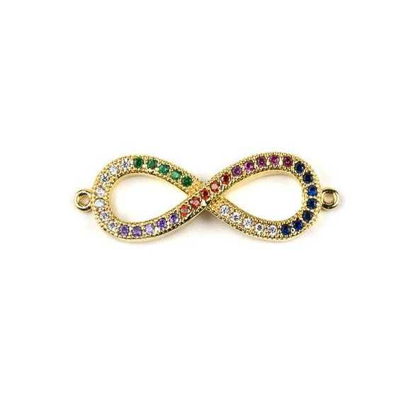 Gold Plated Brass Pave 10x29mm Infinity Link with Multicolor Cubic Zirconias - 1 per bag