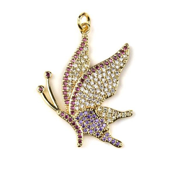 Gold Plated Brass Pave 24x33mm Butterfly Drop Pendant with Pink, Lavender, and Clear Cubic Zirconias - 1 per bag