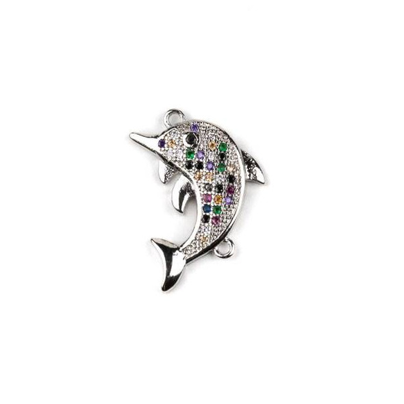 Silver Plated Brass Pave 16x20mm Dolphin Pendant Link with Multicolor Cubic Zirconias - 1 per bag