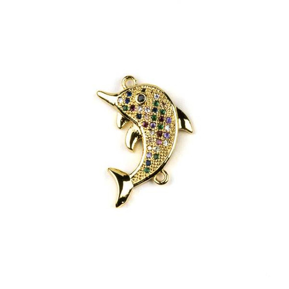 Gold Plated Brass Pave 16x20mm Dolphin Pendant Link with Multicolor Cubic Zirconias - 1 per bag