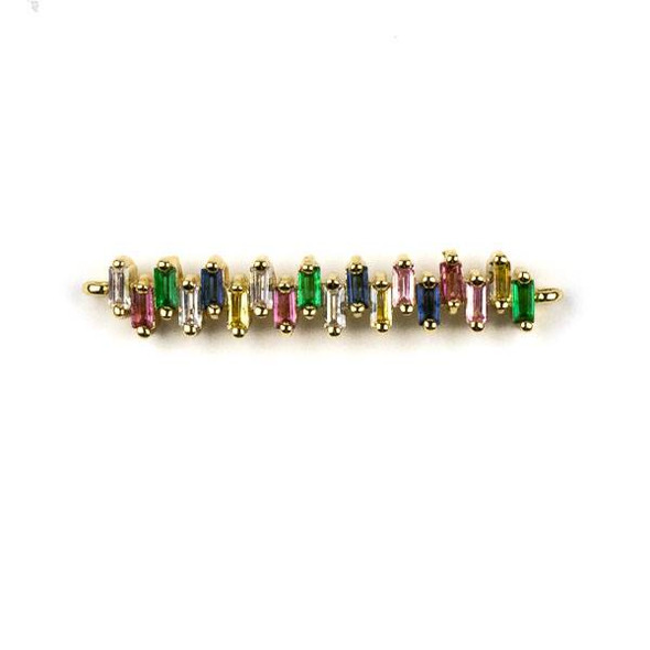 Gold Plated Brass Pave 6x34mm Slightly Curved Bar Link with Multicolor Cubic Zirconias - 1 per bag