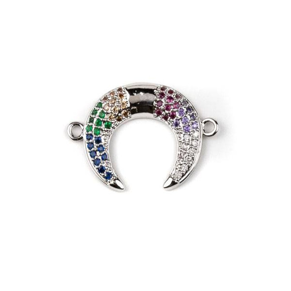 Silver Plated Brass Pave 17x24mm Half Moon Link with Multicolor Cubic Zirconias - 1 per bag